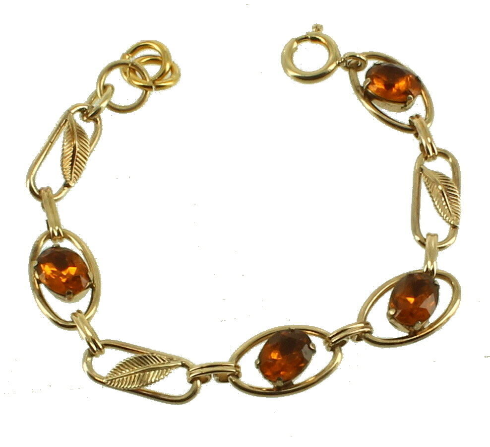 VINTAGE DECO GF GOLD FILLED AMBER PASTE LEAF LINK BRACELET 6.5""