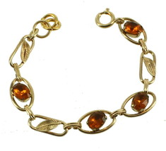 "VINTAGE DECO GF GOLD FILLED AMBER PASTE LEAF LINK BRACELET 6.5"" image 1"