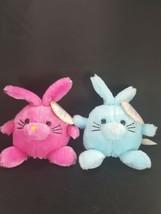 "Lot 2 Easter Bunny Rabbit Hot Pink Blue Neon Plush Stuffed Animal 7"" Chubby Ball - $12.86"