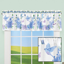 Bird Floral Blue and Purple Wreath Window Valance - Spring Decor for Bedroo - $22.49