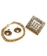 Set of 3 - Vintage Goldtone Filigree Bracelet Brooch Earrings Crystal Faux Pearl - $31.63