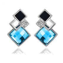 New Popular Crystal Earrings Fashion Geometric Rhinestone Gemstone Studs 2018 image 11