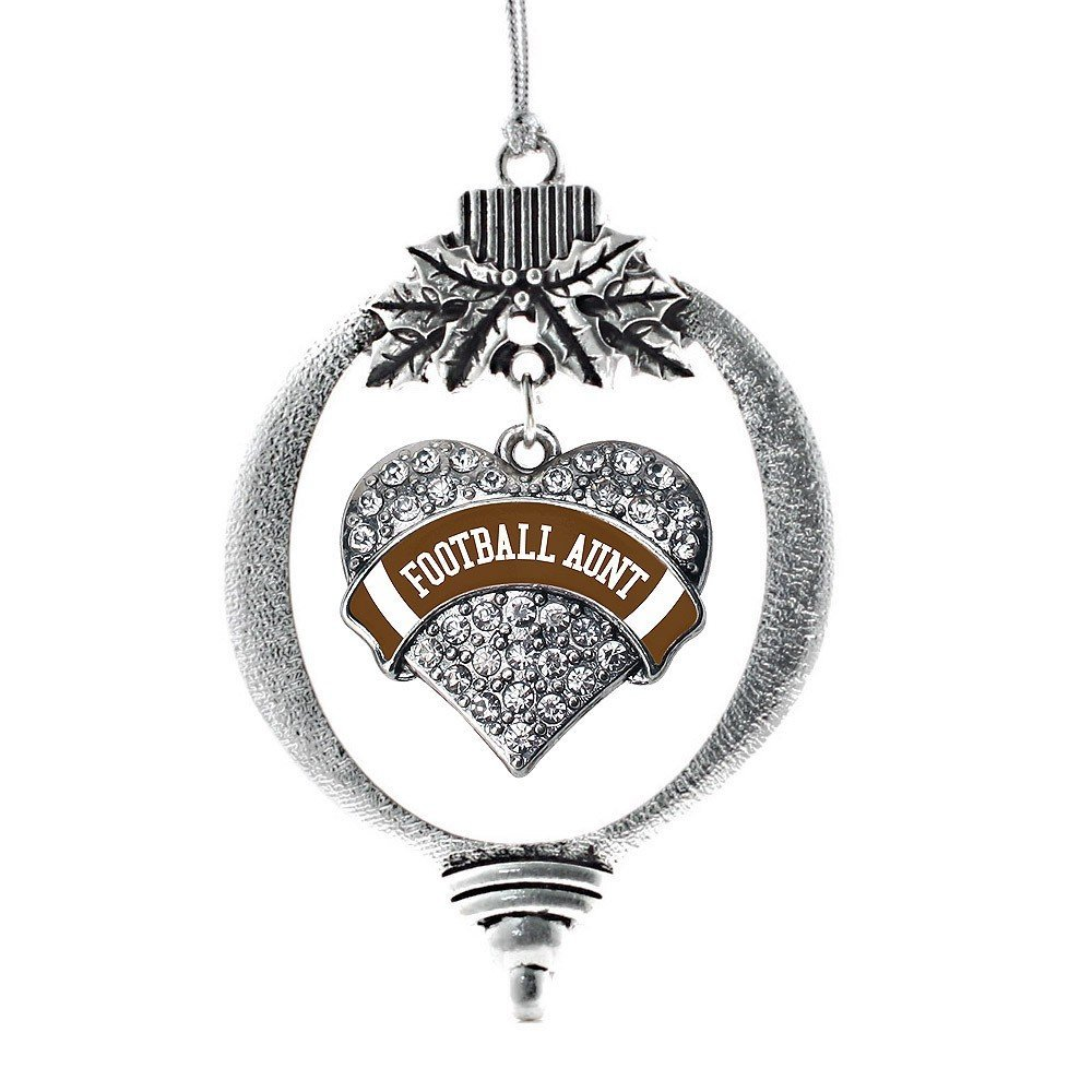Primary image for Inspired Silver Football Aunt Pave Heart Holiday Christmas Tree Ornament With Cr