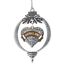 Inspired Silver Football Aunt Pave Heart Holiday Christmas Tree Ornament... - $14.69