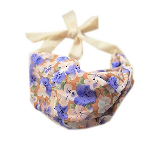 Grace Violet Strap Headband Lace Up Floral Print Hair Band