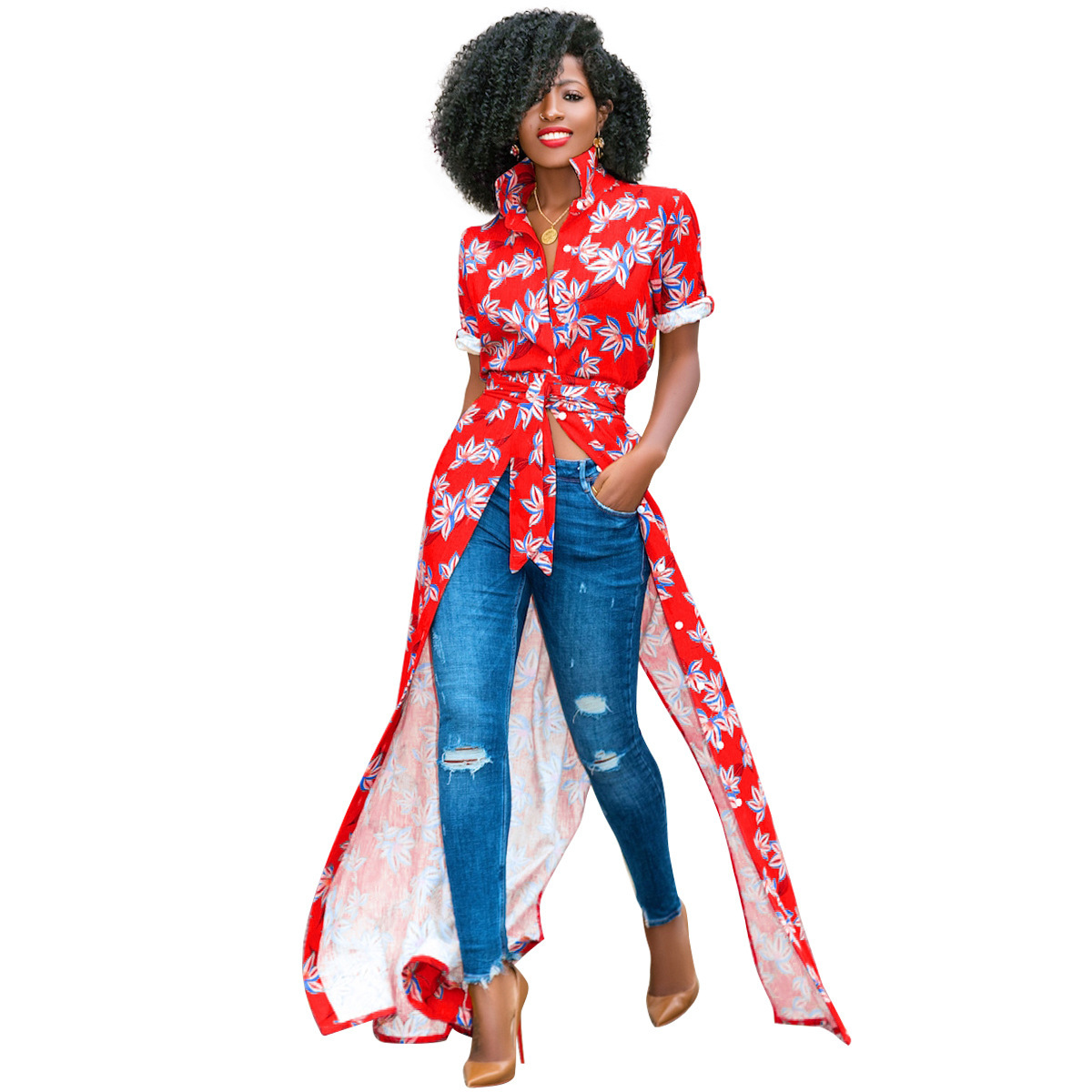 Women Floral Printed Maxi Dress Turn Down Collar Casual Boho Long Shirt Dress