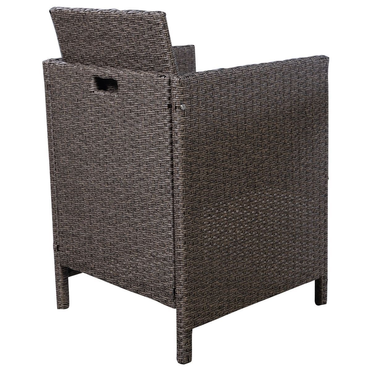 Garden Rattan Set 3pcs Table Chairs Cushioned Outdoor Patio Small Dining Set  image 7