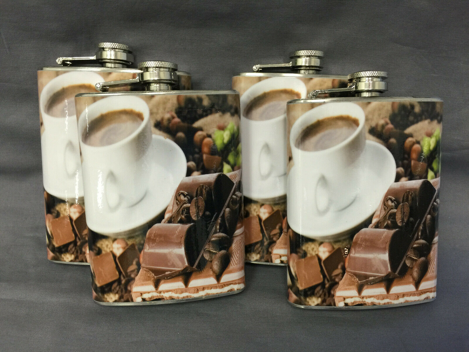 Set of 4 Coffee Mocha Cafe Flasks 8oz Stainless Steel Hip Drinking Whiskey