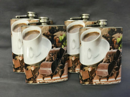 Set of 4 Coffee Mocha Cafe Flasks 8oz Stainless Steel Hip Drinking Whiskey - $26.68