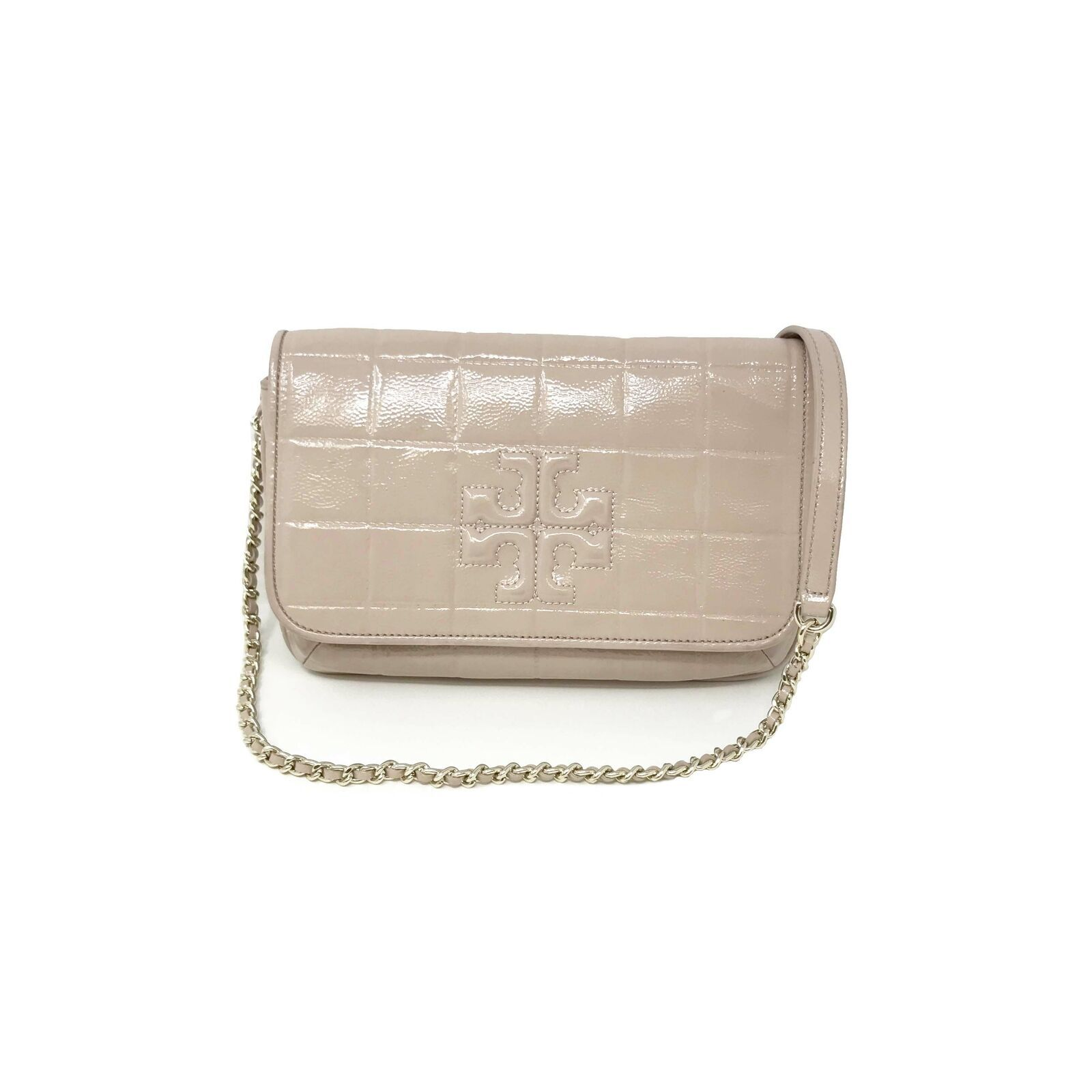 Primary image for TORY BURCH 32159753 Marion Quilted Patetnt Light Oak Women's Clutch