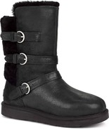 UGG Womens Australia Becket Black Trio Leather Sheepskin Boots Size 5 NIB - $87.35