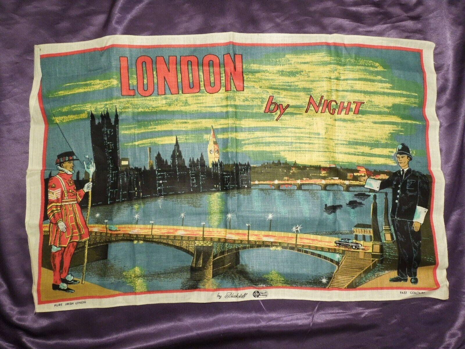 Vintage London by Night by Blackstaff Pure Irish Linen Towel Art