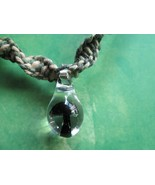 Handmade Camouflage Hemp Necklace with Hand Blown Glass Black Mushroom P... - $18.00