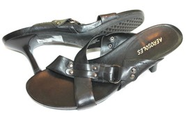 Aerosoles ladies shoes slide-on sandals size 9 M black style Holiday Mules - $18.81