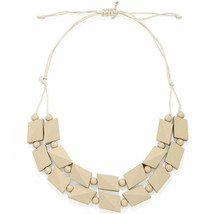 Pastel almond bead necklace made from a lightweight wood jewellery design - $23.07