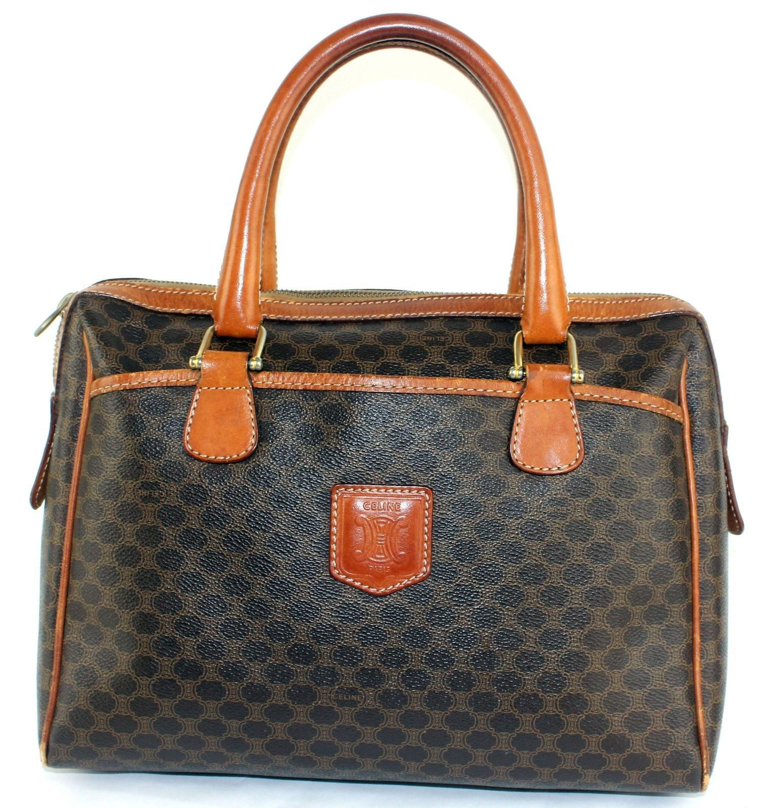5623941f59 S l1600. S l1600. Previous. Auth CELINE Macadam Coated Canvas   Brown  Leather Multi Pockets Handbag Italy