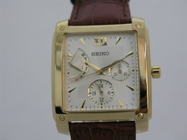Seiko leather strap square case SNT010 - $150.01