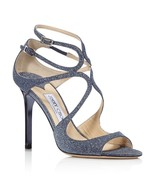 NIB Jimmy Choo Lang Navy Blue Fine Glitter Leather Sandals Heels 7 37 New - $375.01