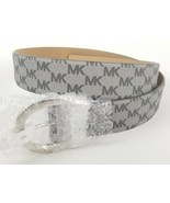 $58 Michael Kors Belt Silver Gray Signature Logo Monogram Silver Buckle ... - $39.59