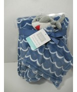 Hudson Baby HB blue waves baby blanket gray shark security blanket lovey set new - $29.69