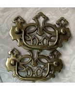 """2 brass drawer pulls Chippendale scroll 2-1/2"""" Screw Spacing - $9.79"""