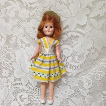 Vintage, 1950s 8in Red Head, Plastic Doll in Yellow Stripes Dress and Gr... - $9.45