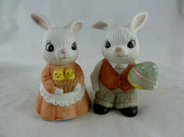 """Homco Home Interiors Porcelain Bunny Rabbit Couple with basket of Chicks 3"""" set - $8.90"""