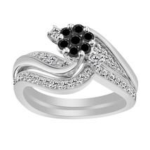 0.77 Ct Black & White Diamond 14k White Gold 925 Engagement Wedding Ring Set - $87.90