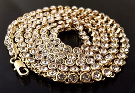 """Iced Out Hip Hop 14K Gold Plated CZ 1 Single Row Chain 30"""" Necklace Smal... - $10.39"""