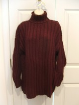 New In Pkg Styles To Go Burgundy Ribbed Turtleneck Tunic Sweater Size Small - $21.77