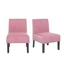 Set of 2 Velvet Leisure Dining Chairs, Pink - $156.00
