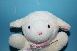"Koala Baby Plush Lamb 5"" Cream Pink Bow Sheep Stuffed Ring Rattle Baby Soft Toy  - $14.47"