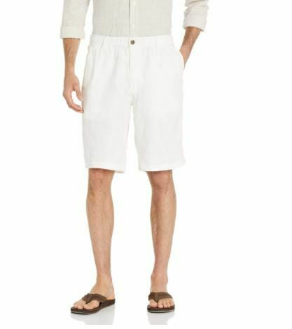 """Amazon Brand - 28 Palms Men's Relaxed-Fit 11"""" Inseam Linen Short with Drawstring"""