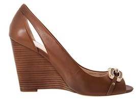 Women's Shoes Coach LARCHMONT A4867 Classic Wedge Peep Toe Pumps Leather Ginger - $90.89