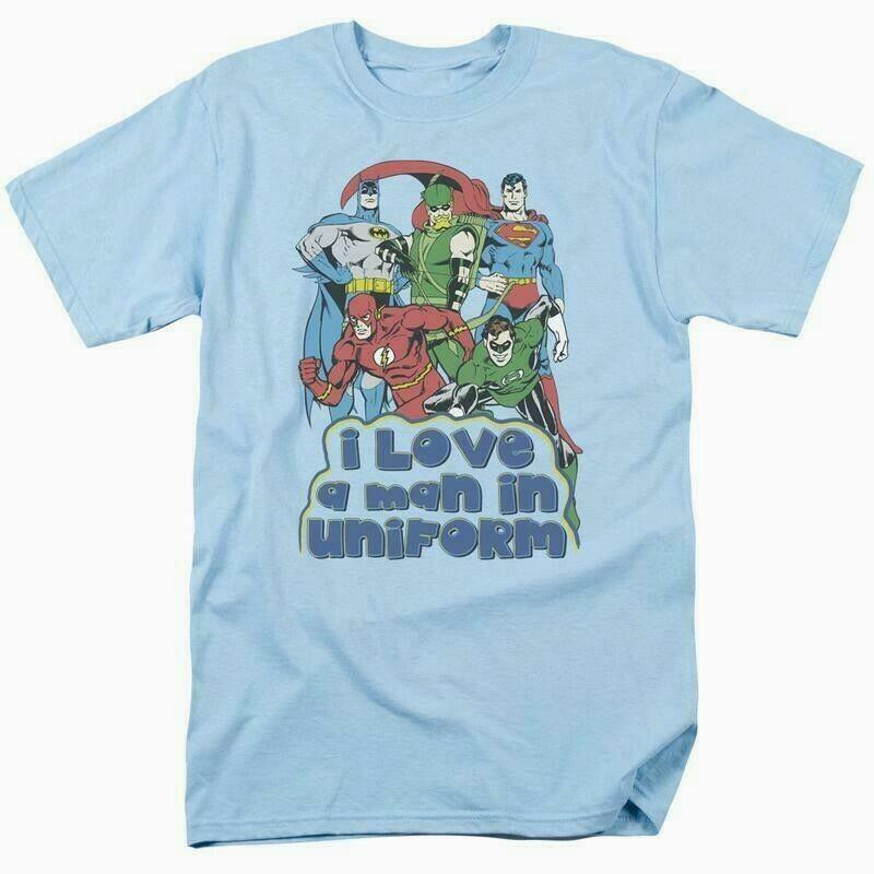 Justice league t shirt uniform dc comic book super friends hero blue tee dco456