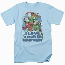 Justice league t shirt uniform dc comic book super friends hero blue tee dco456 thumb200