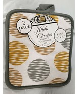 "Set of 2 Printed JUMBO Pot Holders, 7"" x 8"", COLORFUL CIRCLES, w/ grey b... - $8.90"