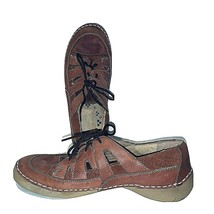 7W Naturalizer Jessica Brown Leather Lace Up Open Sides Shoes Womens Comfortable - $15.66