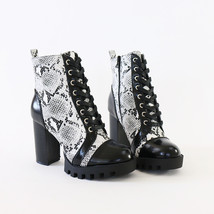 glenna-05 snakeprint lace up lug sole ankle boots booties - $34.99
