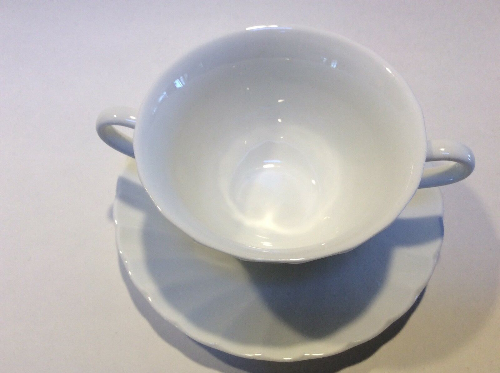Wedgwood Candlelight White Swirl Cream Soup Bowl Cup & Saucer Set s