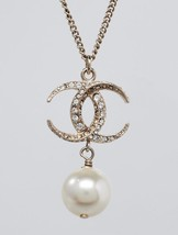 AUTH CHANEL DUBAI CRESCENT MOON STAR PEARL CC PENDANT NECKLACE GOLD