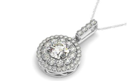 Round Halo Diamond Studded Pendant in 14k White Gold (1 1/4 cttw)  - £2,478.44 GBP