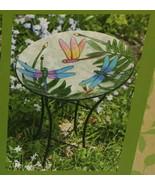"""Evergreen Garden Stunning Intricate Dragon Flies Leaves Glass Bird Bath 16"""" - $23.50"""