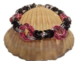 Handcrafted Pink Love Knot link with black and silver chain maile link b... - $20.00