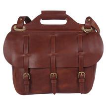 Leather Saddlebag Briefcase Laptop Bag Adjusting Straps Brown USA Made N... - $660.00
