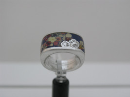 Ring Cacharel blue background with many flowers CLR315w Sterling Silver ... - £47.11 GBP