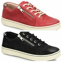 Women's Born Tamara Distressed Leather Sneakers Black/Red Size 6 - $59.99