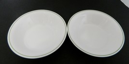 Corelle by Corning Blue Dusk Coupe Soup Bowls Green Band at Edge Lot of Two - $14.73