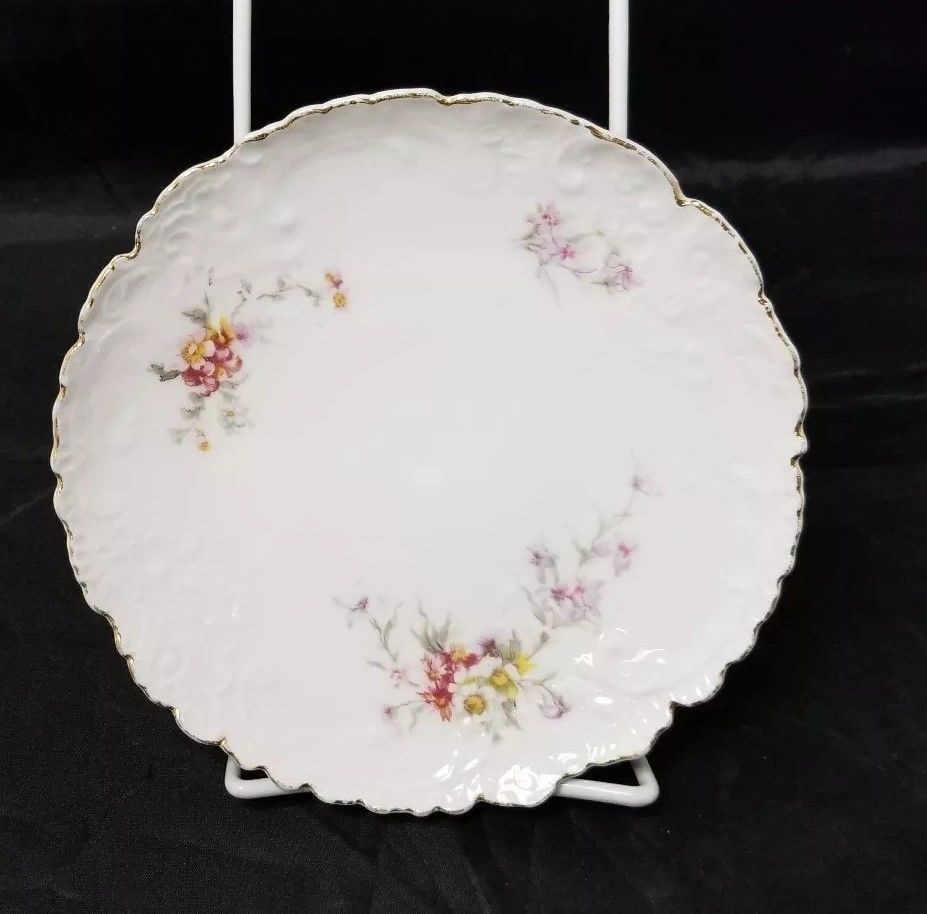 Vintage China Salad Plates: Set of 2, White Bread / Side Plates w Flowers, Gold image 3