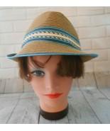 Roxy Womens Size S M Feodora Turquoise Striped Brim Sun Hat - $21.69